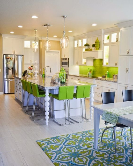 Bringing Greenery into your Kitchen can be done in many ways: rugs, table runners, accent pieces, and chairs.